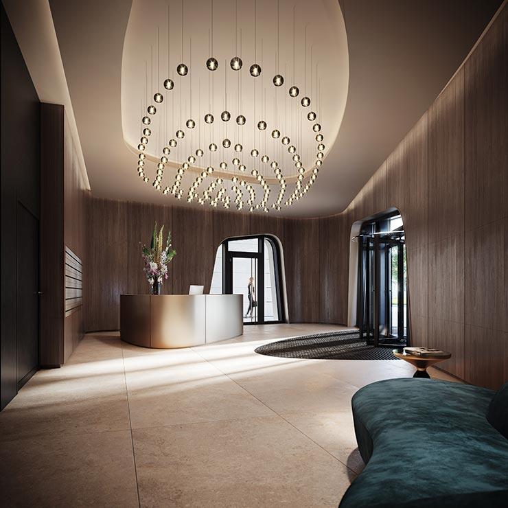 Hafenpark Quartier Frankfurt Living Wohnen Foyer Concierge Features