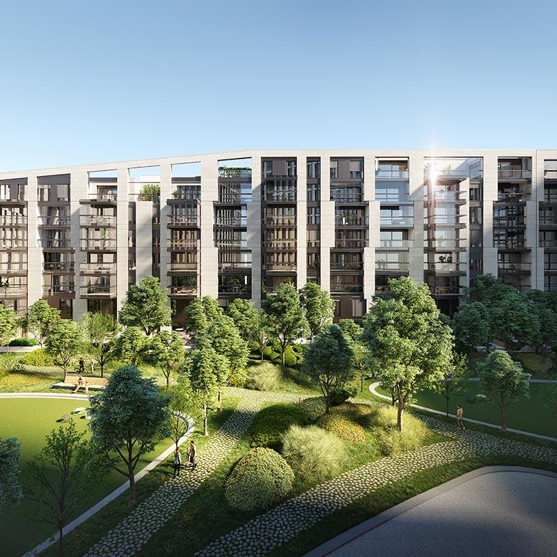 Hafenpark Quartier Frankfurt Living Wohnen green Garten Features