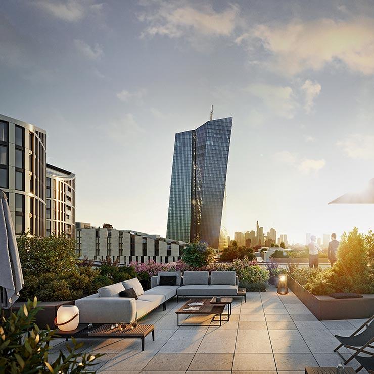Hafenpark Quartier Frankfurt Living Dachterrasse Skyline