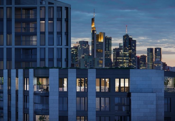 Hafenpark Quartier Frankfurt Eigentumswohnungen Ostend Hadi Teherani Architects Skyline