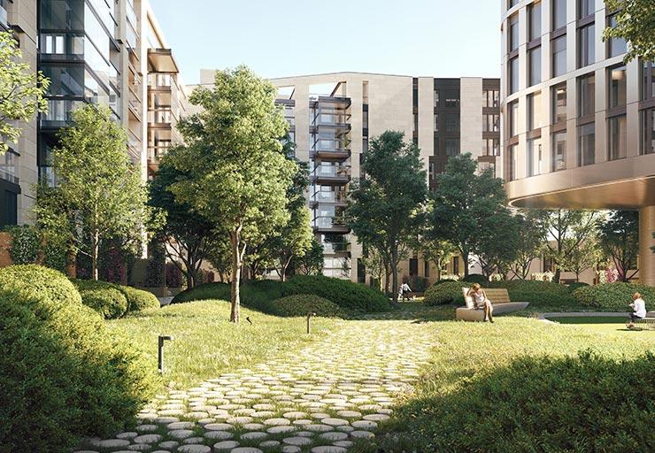 Hafenpark Quartier Frankfurt Eigentumswohnung Ostend Garten Oase Hadi Teherani Architetcs