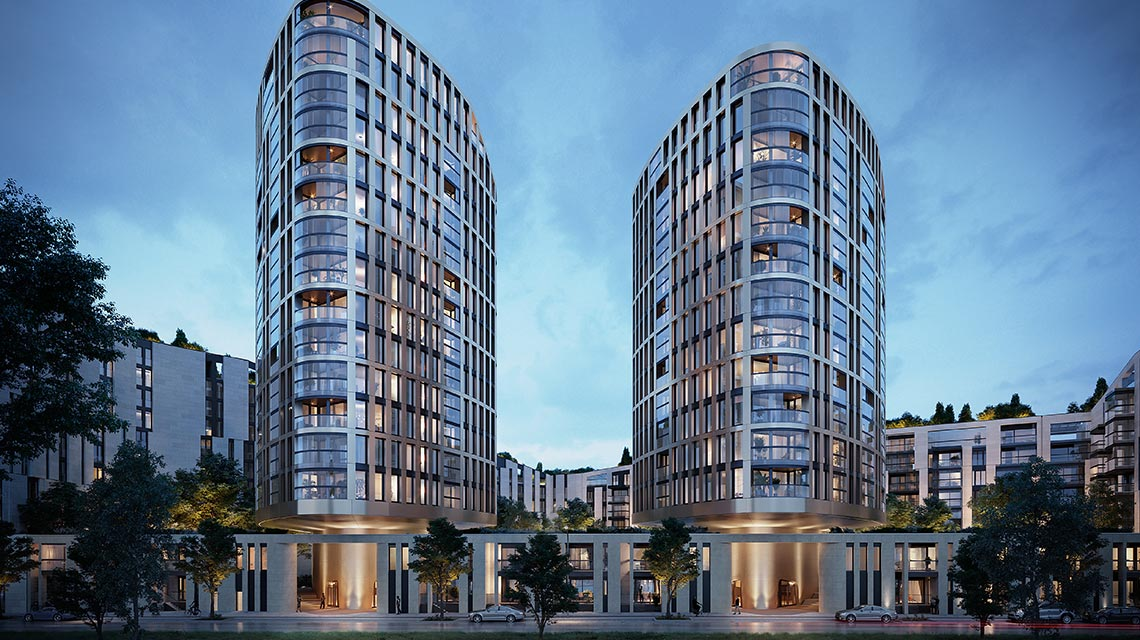 Hafenpark Quartier Frankfurt Eigentumswohnungen Apartments Townhouses PenthousesLiving
