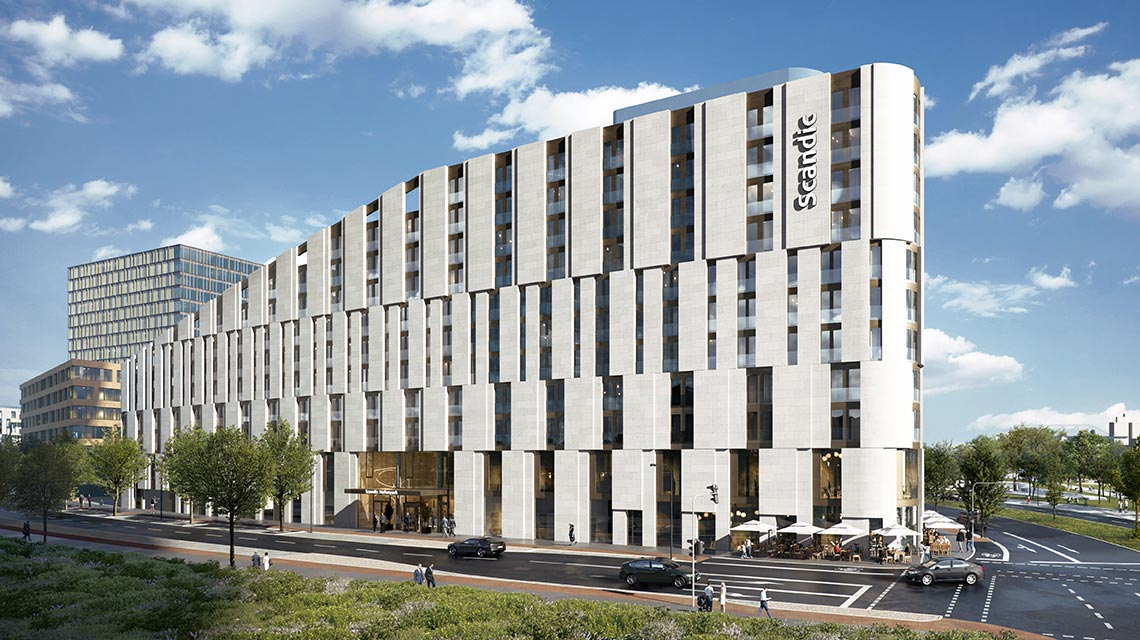 Hafenpark Quartier Frankfurt Scandic Konferenzhotel Hadi Teherani Architetcs