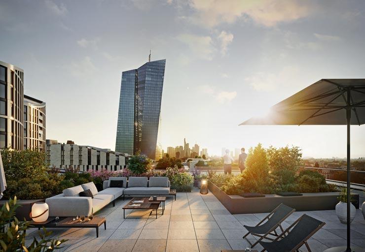 Hafenpark Quartier Frankfurt Wohnen Ostend Dachterrasse Skyline Hadi Teherani Architetcs