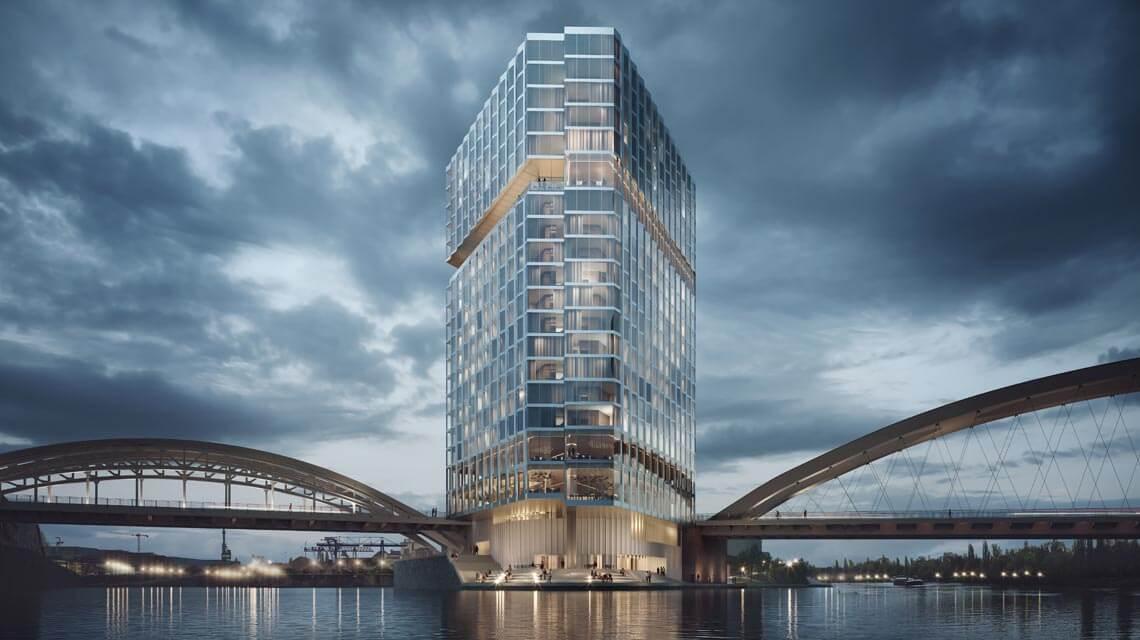 Hafenpark Quartier Frankfurt Waterfront Hotel Barkow Leibinger Architekten