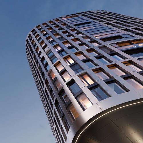 Hafenpark Quartier Frankfurt Wohnen living Apartments Architektur Hadi Teherani